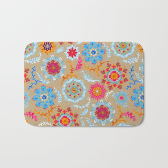 Brown Sugar Suzani Inspired Pattern Bath Mat