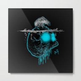 Calavera neón azul con oso polar calentamiento global Metal Print