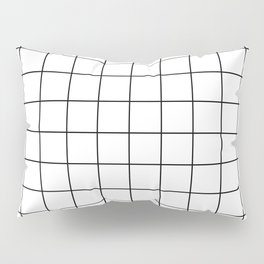 Grid Stripe Lines Black and White Minimalist Geometric Pillow Sham