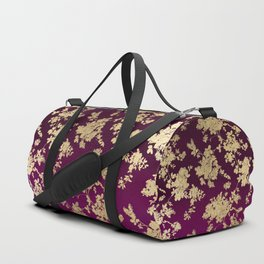 Chic faux gold burgundy ombre watercolor floral Duffle Bag