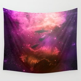 Floating Dolphins in mystic light Wall Tapestry