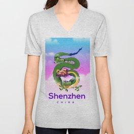 Shenzhen China Dragon travel poster Unisex V-Neck