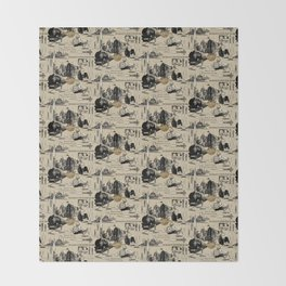 Murder on the Orient Express (Agatha Christie) Toile de Jouy Throw Blanket