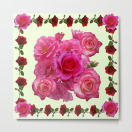 CONTEMPORARY ART RED & PINK GARDEN ROSES PATTERN Metal Print