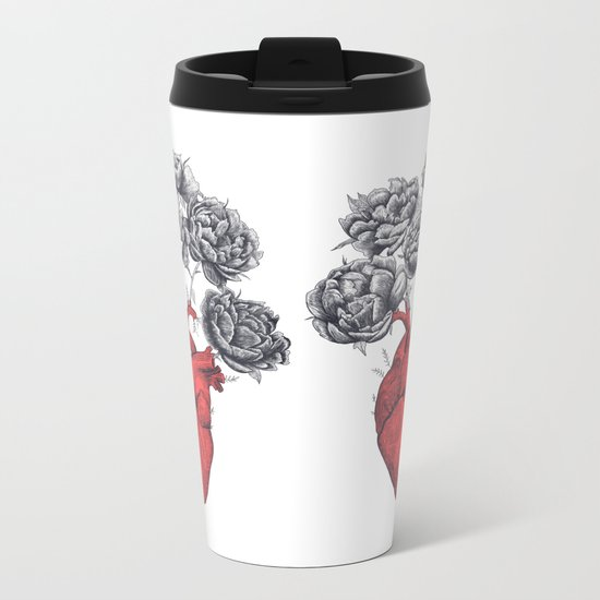 Heart with peonies Metal Travel Mug