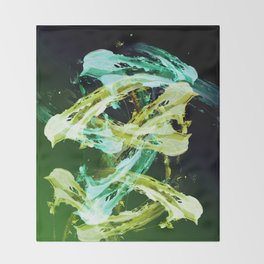 Green and Gold Expressionism Throw Blanket