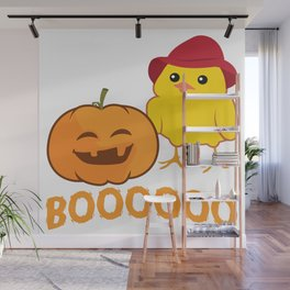 Halloween Funny Pumpkin And Chicken Outfit Wall Mural