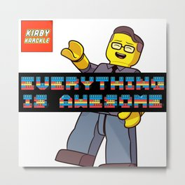 Kirby Krackle -Everything Is Awesome! (Lego style shirt) Metal Print
