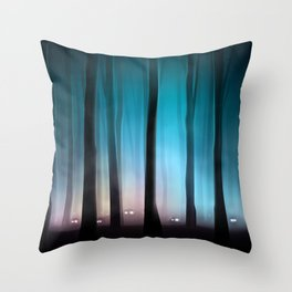 Spooky Forest Monsters Throw Pillow