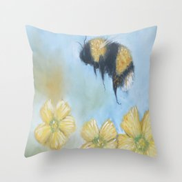Whimsical Bumble Bee With Buttercups Throw Pillow