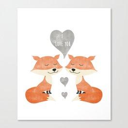 Loving Fox Couple - I love you - Happy Valentines Day Canvas Print