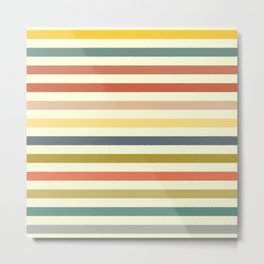 baby ikat stripe cream Metal Print