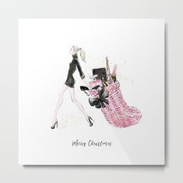 Merry Christmas Fashion Illustration - Blonde Hair Option Metal Print