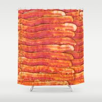 grease Shower Curtains featuring Jasper's Breakfast by pixel404