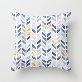 Herringbone chevron pattern. Indigo gold acrylic on canvas Throw Pillow