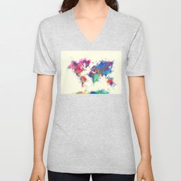 world map 105 #worldmap #map Unisex V-Neck