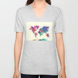 world map 105 #worldmap #map Unisex V-Neck