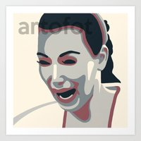 kim kardashian Art Prints featuring Kim Kardashian CRYING FACE Poster Print by artofot