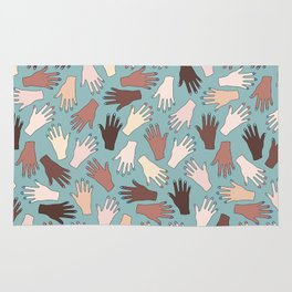 Nail Expert Studio - Colorful Manicured Hands Pattern Rug