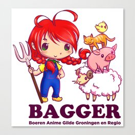 BAGGER Lotje and the farm animals Canvas Print