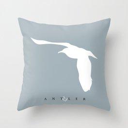 White Sea Gull on Blue Throw Pillow