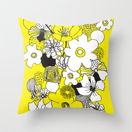 Floral Medley - Yellow Throw Pillow