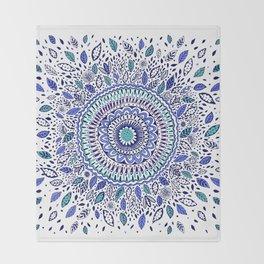 Indigo Flowered Mandala Throw Blanket