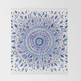 Indigo Flowered Mandala Throw Blanket