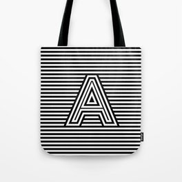 Track - Letter A - Black and White Tote Bag