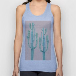 Besties Cactus Friends Turquoise + Coral Unisex Tank Top