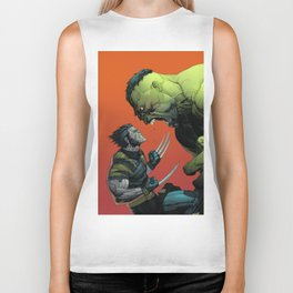 Wolverin Against Hulk Comic Poster Art Biker Tank