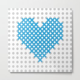cross embroidered on the canvas heart Metal Print