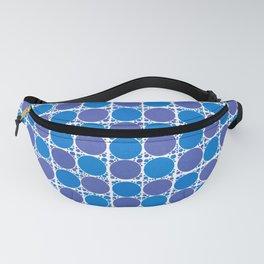 LOELLEN purple blue white polka dot grid pattern Fanny Pack