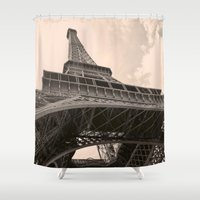 eiffel tower Shower Curtains featuring Eiffel Tower by ib photography