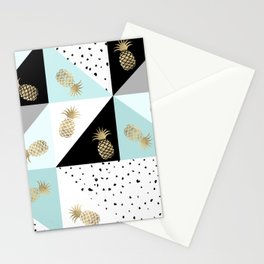 Pastel color block watercolor dots faux gold pineapple Stationery Cards