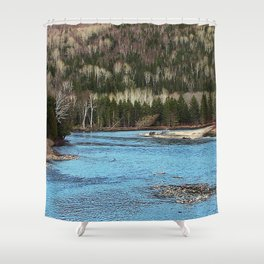Sparkling River in Spring Shower Curtain