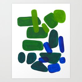Mid Century Vintage Abstract Minimalist Colorful Pop Art Phthalo Blue Lime Green Pebble Shapes Kunstdrucke