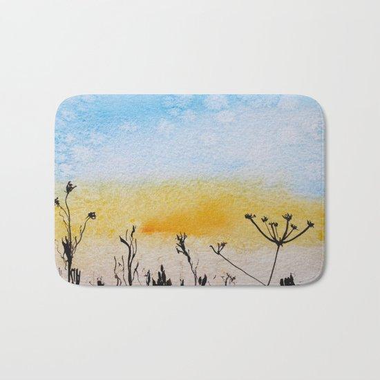 Summer sunrise in watercolor Bath Mat