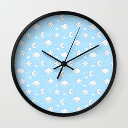 Sleepy Time Moon, Clouds and Stars Wall Clock