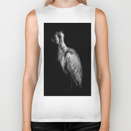 Heron in Black and White Biker Tank