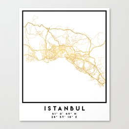 ISTANBUL TURKEY CITY STREET MAP ART Canvas Print