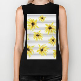 Bright Yellow Daisies on Stripes Biker Tank