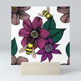 Bright Floral with Bees Mini Art Print