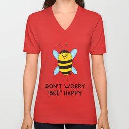 Don't worry, BEE happy Unisex V-Neck