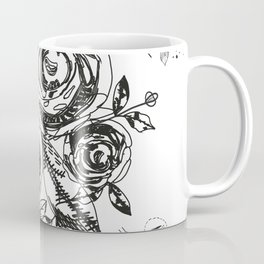 Summer time abstract black flowers. Nature theme. Abstract roses and flower Coffee Mug