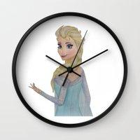 elsa Wall Clocks featuring Elsa by Sierra Christy Art