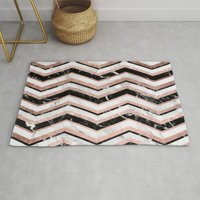 Modern Trendy Faux Rose Gold Black White Marble Chevron Rug By Ytrend