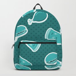 Pizza Burgers and Fried Chicken Time on Aquamarine Backpack