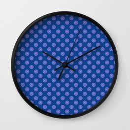 Lavender Blue Polka Dot Pattern Wall Clock