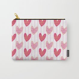 Blush pink white stripes heart mother's day typography Carry-All Pouch